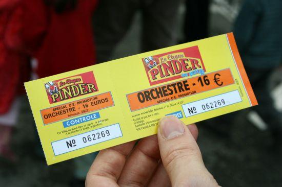 photographie billet du cirque Pinder