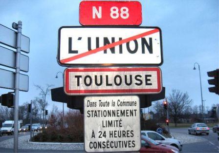 Panneau bienvenue à Toulouse, sortie de L'Union