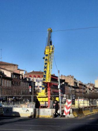 Travaux pour mise en place ligne B à Toulouse, place Jean-Jaurès