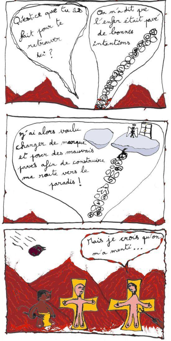 comic strip au pied de la lettre sur citation l'enfer est pavé de bonnes intentions